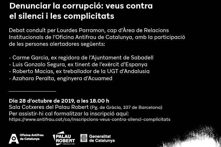 """Taula rodona: """"Denunciar la corrupció: veus contra el silenci i les complicitats"""""""