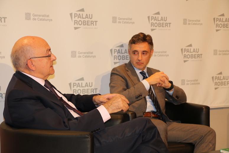 "Miguel Ángel Gimeno i Emilio Sánchez Ulled durant el diàleg ""Perseguir la corrupció"""