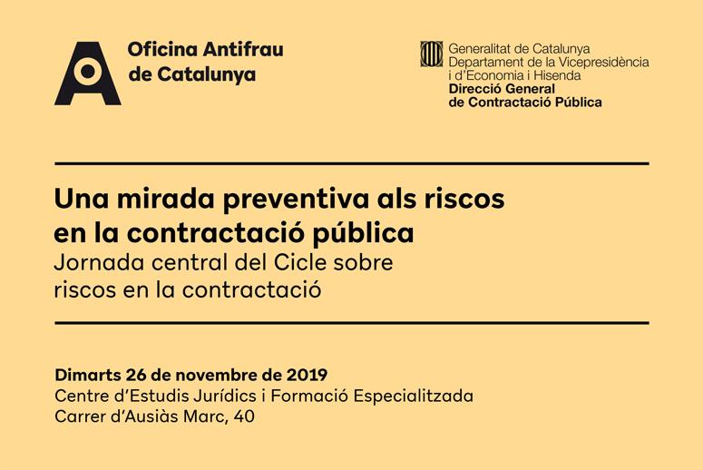 """Jornada """"Una mirada preventiva als riscos en la contractació pública"""""""