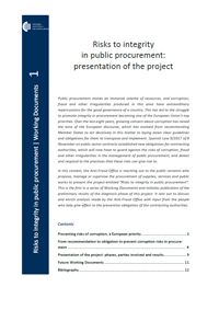Working dRisks to integrity in public procurement. Presentation of the projectocuments 1